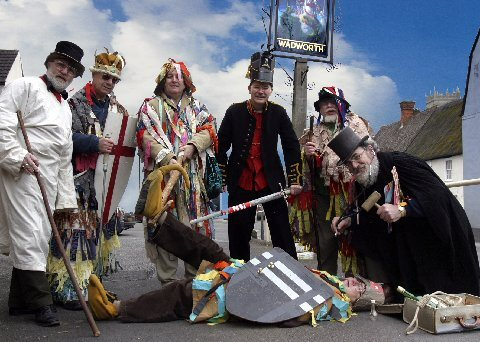 The Potterne Mummers, Wiltshire, England, who are campaigning to change the Licencing Act. © Bob Naylor