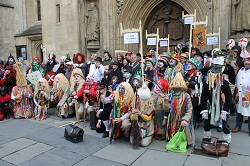 Assembled mummers and guisers at the 2nd Bath International Mummers Festival 2012.