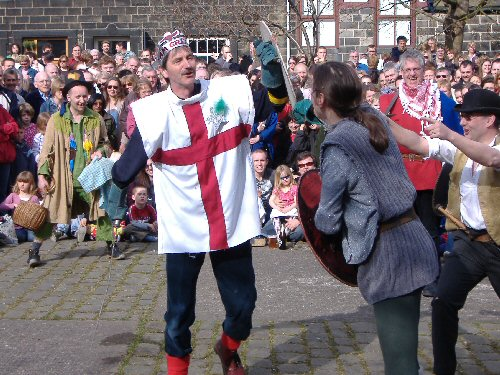 The Heptonstall Players' Pace Egg play performed in Weaver's Square, Heptonstall, West Yorkshire, England, on Good Friday 2007